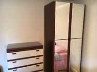 Double wardrobe, mirrored doors. Free but must uplift by Tuesday 28th Feb.
