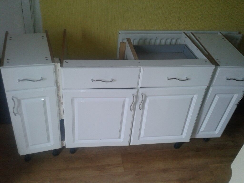 WHITE KITCHEN CUPBOARDS WORKTOPS AND SINK | in Peterlee, County ...