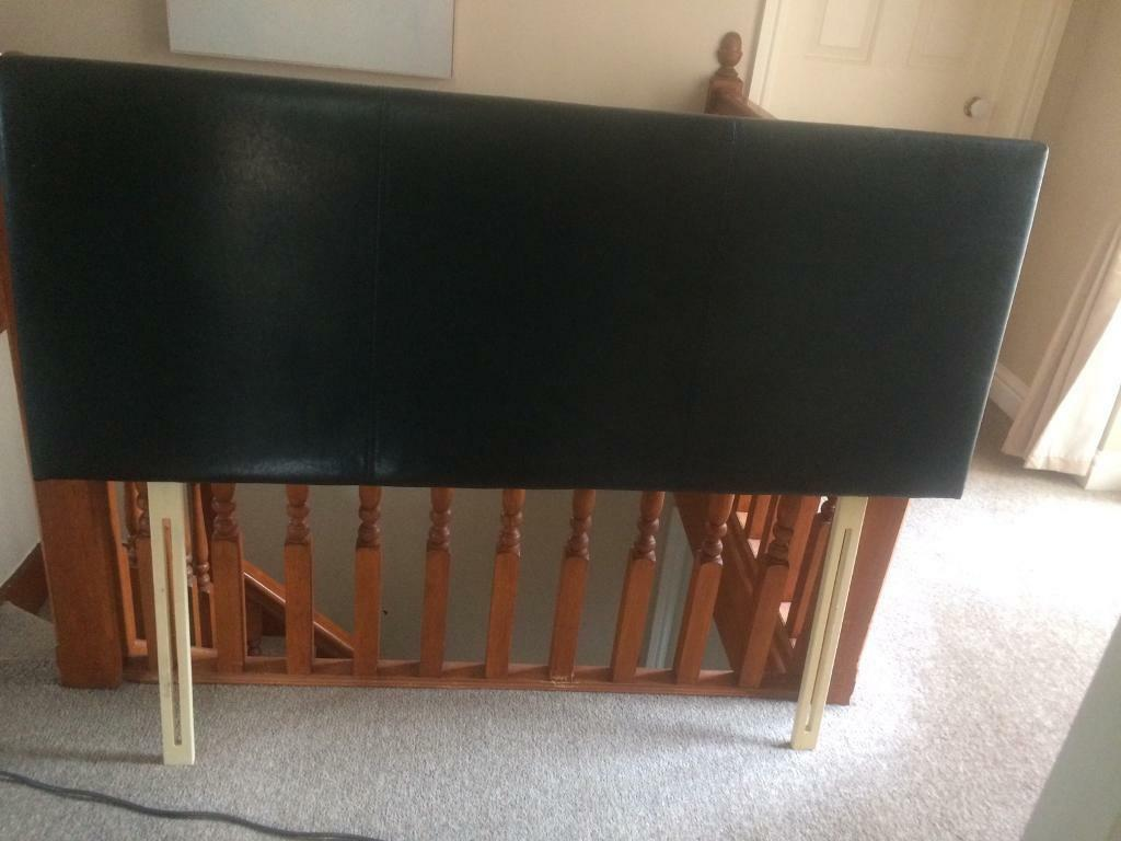 Black leather head board