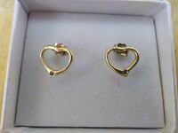 NEW LADIES SILVER 925 ON 18 KT GOLD PLATE SMALL OPEN HEART STUD EARRINGS