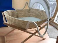 Baby Moses basket with stand and mattress