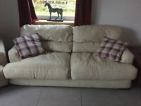 DFS Cream Leather - 3 seater Sofa bed, 4 seater