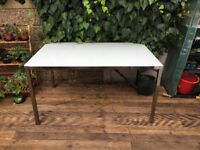 Glass and steel large dining table 6 seater