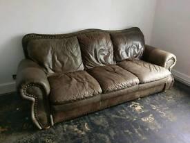 DFS antique look leather sofas