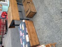 vintage pine chest / trunk / toybox - newly upholstered seat