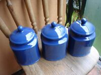 3x Blue Large Ceramic Storage Jars
