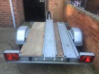 Galvanised tipping motorbike trailer + ramp/spare wheel