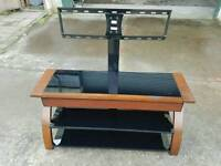 Black Glass / wooden Tv stand with bracket