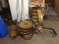 Incline weight bench and weights