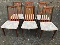 Set of 6 teak Gplan dining chairs