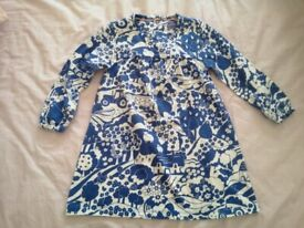 Boden Retro Farm Print Blue Cotton Dress (size 18-24 months) brand new