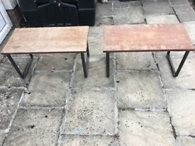 2 old style wooden benches