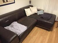 IKEA corner sofa brown leather