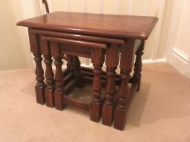 Old Charm Solid Oak Nest of 3 Tables