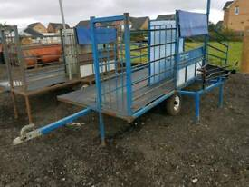 Harrington sheep handling system trailer with turnover crate tractor