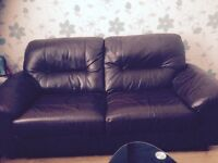 Real leather chocolate brown setee and chair and poofee