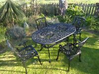GARDEN FURNITURE SET - TABLE AND 4 CHAIRS - CAST ALUMINIUM
