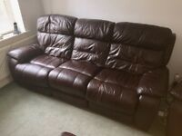 FURNITURE VILLAGE MORENO 3 + 1 + 1 LEATHER ELECTRIC RECLINER SOFA + CHAIR + FOOTSTOOL - COLOUR BROWN