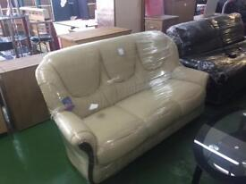Cream Leather Sofa 3 + 2