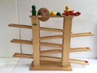 Kids German Wooden Marble Run, 1501 NIC Multi-race Track With 6 Track Parts