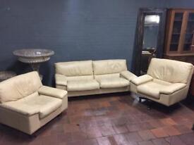 Retro style cream leather sofa set