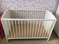 Good condition IKEA cot and mattress