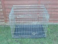 DOG CAGE MEDIUM WITH TRAY £18 SILVER OR BLACK