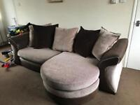 Three seater sofa and swivel chair