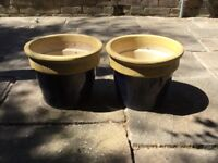 2 large plant pots in dark blue and beige