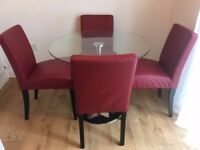 Dining Table and 4 Red Leather Chairs