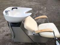 Salon Furniture - x2 REM Cream Wash Units x4 B&C Salon Chairs - Salon Tub Chair & Wash Basin