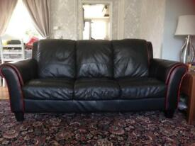 DFS Alonso black and red leather sofa, 3 seater, 2 seater, chair and footstool