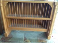 Oak plate rack and extractor with hood and oak shelved display corner unit,