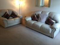 3+2 cream real leather sofas