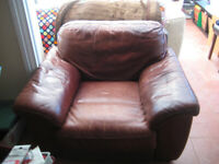 Large Brown Leather Armchair Free To A Good Home.