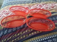 4 x Red Oval Baskets