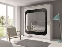 BRAND NEW CHELSEA 2 DOOR SLIDING WARDROBE WITH CURVED HIGH GLOSS MIRRORS IN BLACK WHITE MATT FINISH