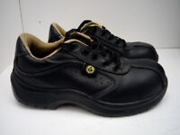 Men- Women ESD Black Leather Safety Lace-Up Shoe Size -4 /Eur-37/