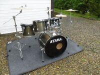 Tama Rockstar 5 drum kit,Sabian cymbals,stands,pedals and stool,green metallic