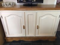 Wood and cream sideboard