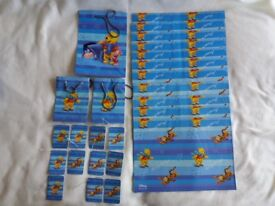 Winnie the Pooh Christmas Gift Wrap Pack Leftovers 25 pieces Bags Wrap Tags