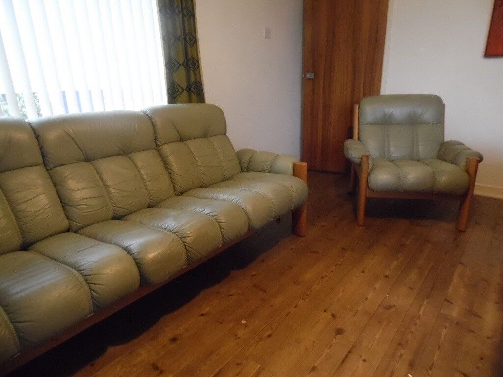 Ekornes Retro Vintage Montana 3 Seater Leather Sofa Matching