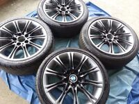BMW GENUINE MV2 18'' ALLOY WHEELS WITH VERY GOOD TYRES FOR E46, E90/91 & Z SERIES