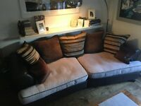 DFS Sofa and Armchair brown leather and fabric £350