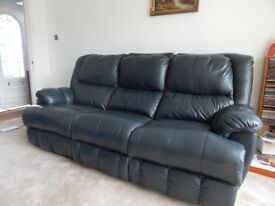 3 Seater Sofa and Chair Black Leather