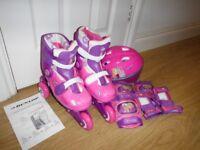 Dunlop Sport Princess Adjustable Pink Tri/Inline Skates & Helmet Set Size 3-6 Brand New RRP £49.99