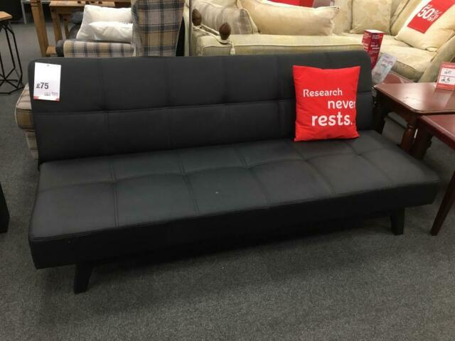 Bhf Sleek Black Leather Sofa Bed In