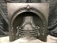 Antique Victorian Cast Iron Insert Fireplace Surround