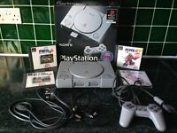 SONY PLAYSTATION 1 GAMES CONSOLE BUNDLE WITH 2 SPECIALIZED JOYSTICKS, 6 GAMES AND MORE