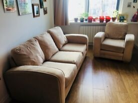 Cosy cream 3 seater and 1 seater